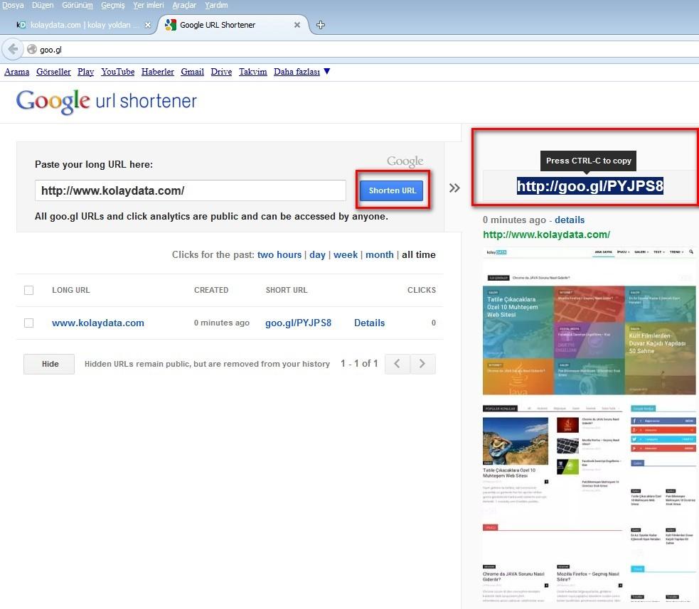 link kısaltma google