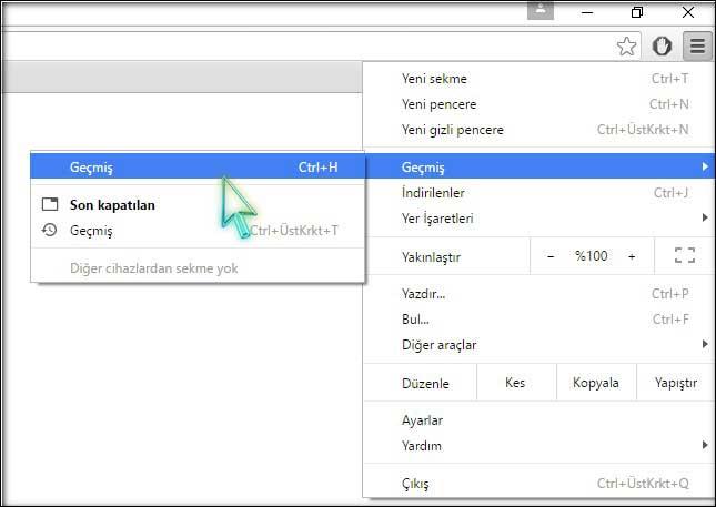 Chrome Geçmiş Silme 2