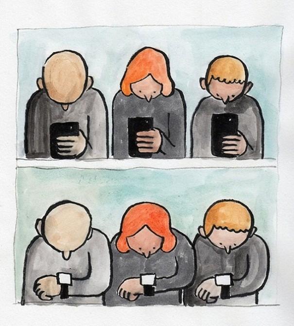 Telefon Bağımlılığını Eleştiren Çizimler