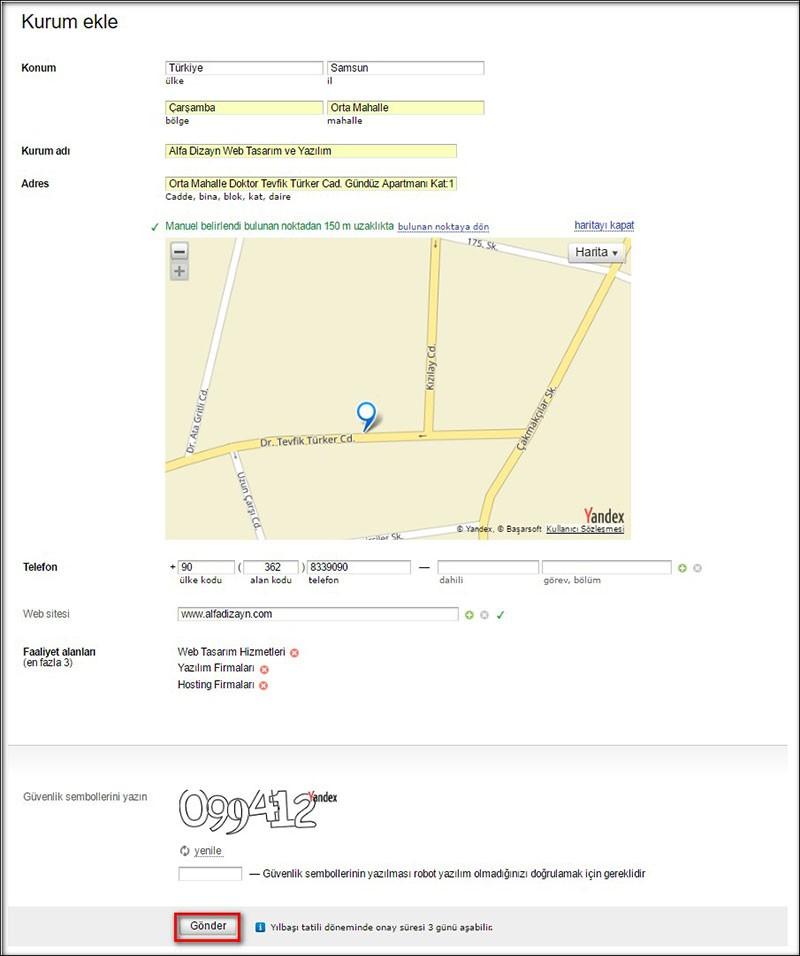 Yandex Navigasyon'a İşyeri Ekleme