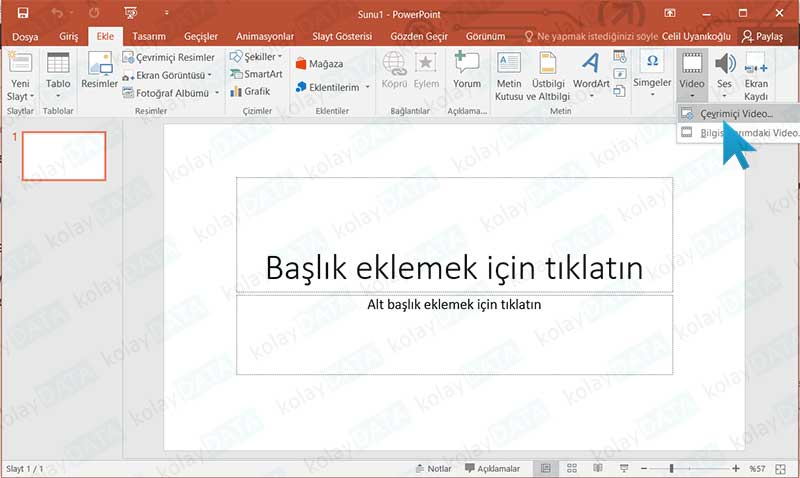 Powerpoint Sunumuna Youtube'dan Video Eklemek