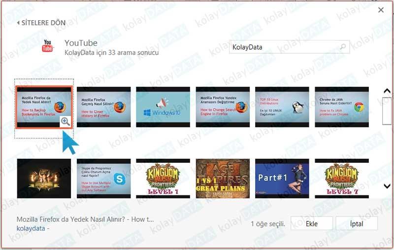 Powerpoint Sunumuna Youtube'dan Video Eklemek