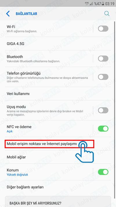 Cep Telefonu İnternet'ini Bilgisayara Bağlamak