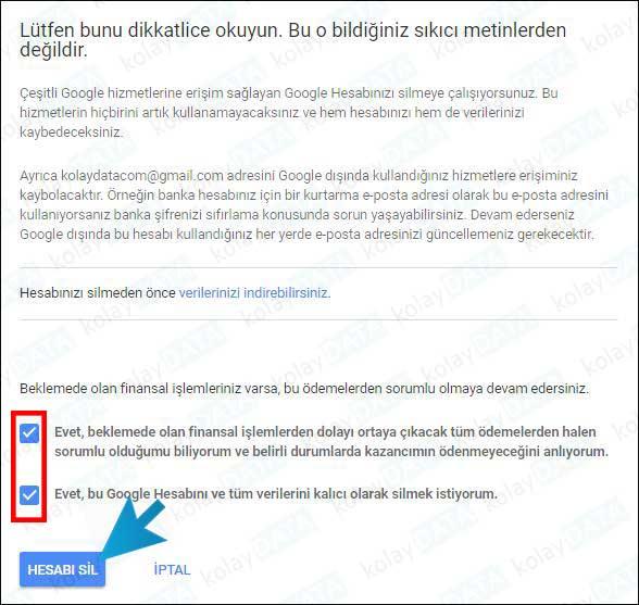 gmail kapat