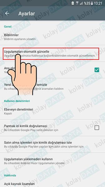 Android Otomatik Güncellemeleri Kapatma