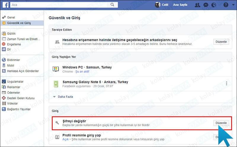 Bilgisayarda Facebook Şifre Değiştirme