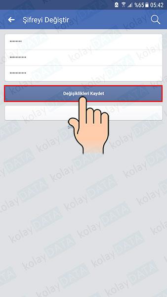 telefonda Facebook Şifre Değiştirme