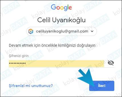 Google Şifre Değiştirme