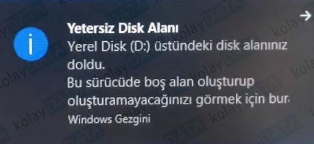 Yetersiz Disk Alanı Uyarısını Kaldırma
