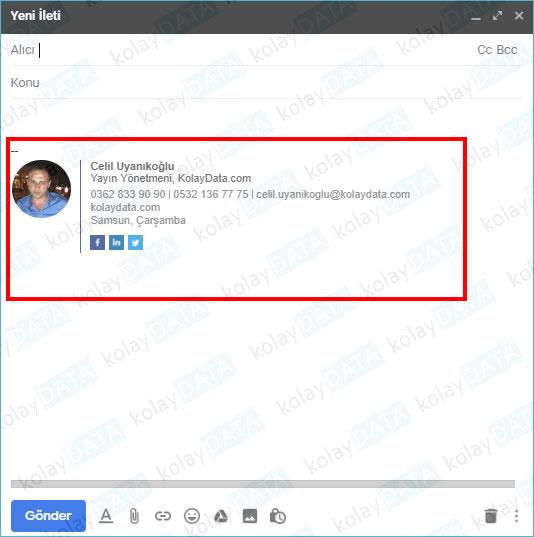 Gmail İmza değiştirme