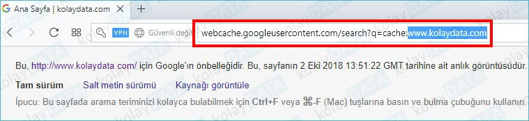 Google Siteyi En Son Ne Zaman İndexlemiş