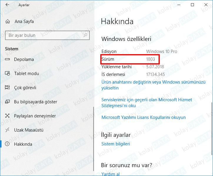 Windows 10 Sürümü Nasıl Öğrenilir