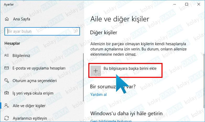 Windows'da Yeni Kullanıcı Ekleme