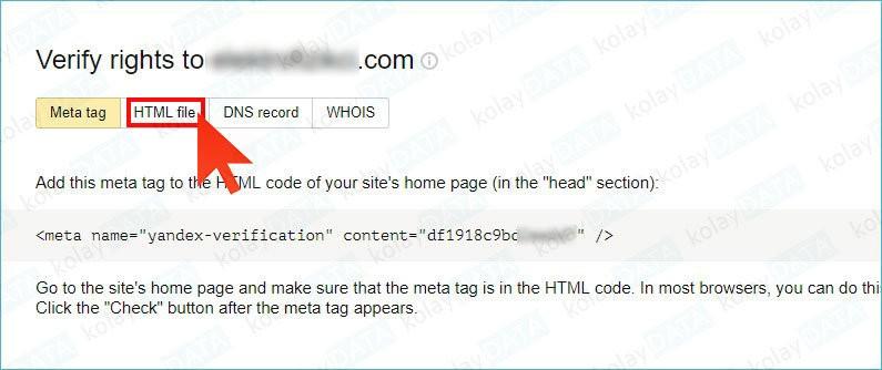 Yandex Webmaster'a Site Eklemek