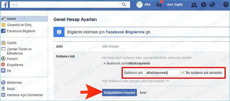 Facebook Kullanıcı Adı Değiştirmek almak