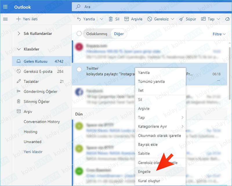 Hotmail'de İstenmeyen E-Mail'leri Engelleme
