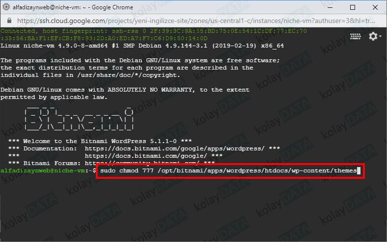 Google Cloud Sanal Makinenin Dosya İzinleri