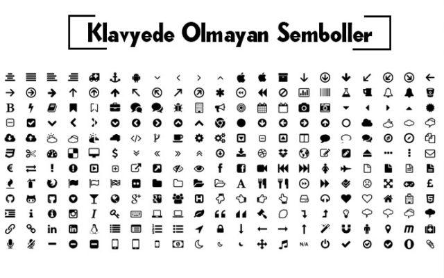 klavyede bulunmayan semboller